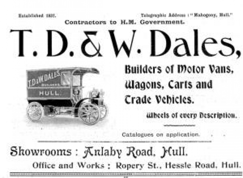Advert for T.D. & W. Dales, builders of motor vans, wagons, carts and trade vehicles.