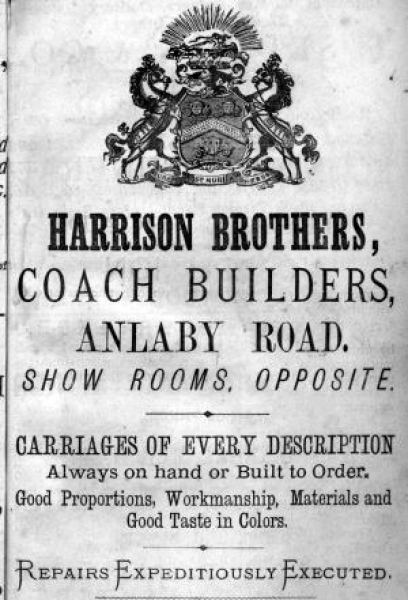 Advert for Harrison Brothers, coach builders.