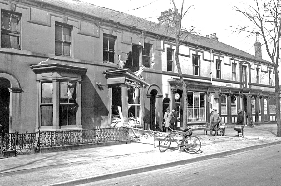 St Georges Road bomb damage, 1940s, courtesy of Hull History Services.